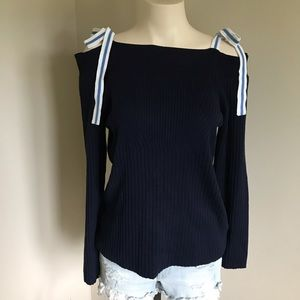 89th + Madison Cold Shoulder Bow Tie Sweater Navy Blue Large
